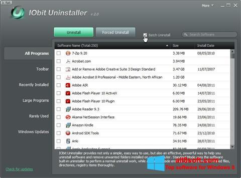 ภาพหน้าจอ IObit Uninstaller สำหรับ Windows 8