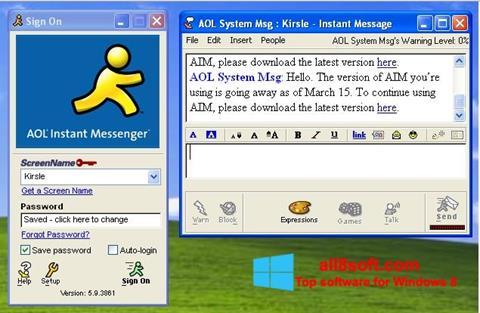 ภาพหน้าจอ AOL Instant Messenger สำหรับ Windows 8