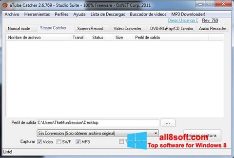 ภาพหน้าจอ aTube Catcher สำหรับ Windows 8