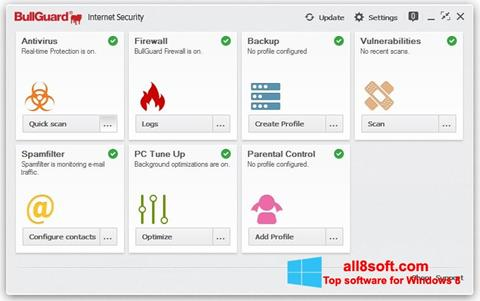 ภาพหน้าจอ BullGuard สำหรับ Windows 8