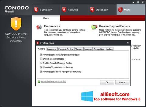 ภาพหน้าจอ Comodo Firewall สำหรับ Windows 8