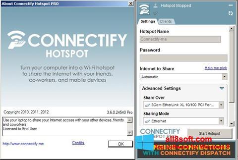 ภาพหน้าจอ Connectify Hotspot PRO สำหรับ Windows 8