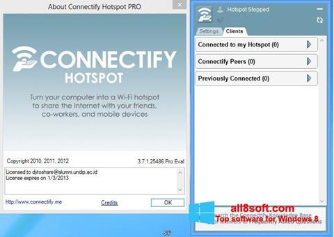 ภาพหน้าจอ Connectify สำหรับ Windows 8