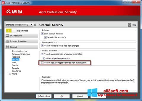 ภาพหน้าจอ Avira Professional Security สำหรับ Windows 8