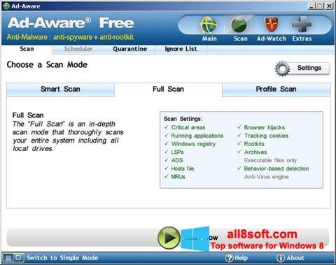 ภาพหน้าจอ Ad-Aware Free สำหรับ Windows 8
