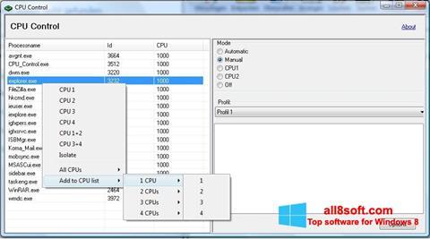 ภาพหน้าจอ CPU-Control สำหรับ Windows 8