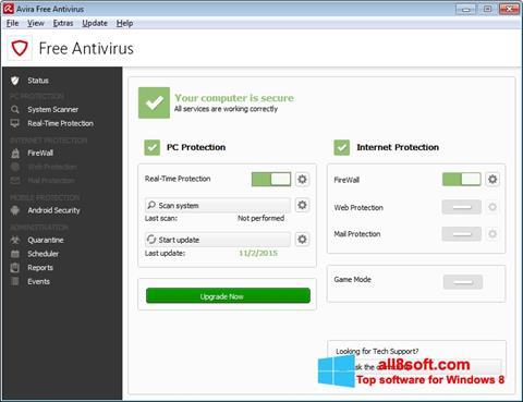 ภาพหน้าจอ Avira Free Antivirus สำหรับ Windows 8
