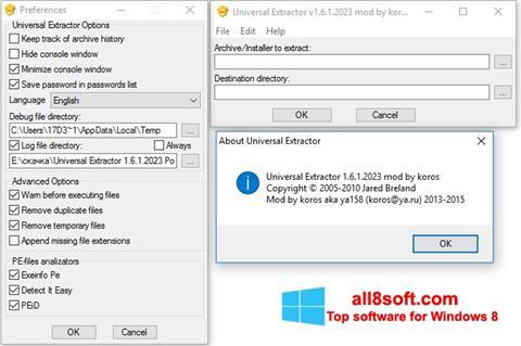 ภาพหน้าจอ Universal Extractor สำหรับ Windows 8