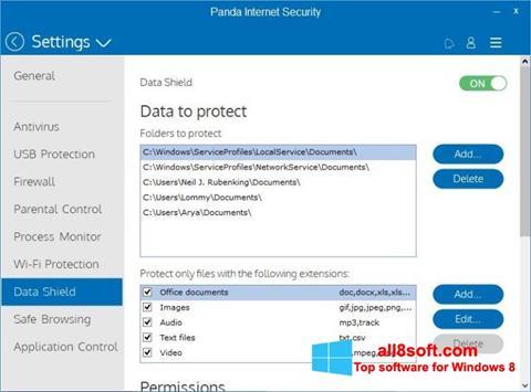 ภาพหน้าจอ Panda Internet Security สำหรับ Windows 8