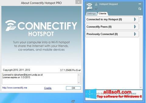 ภาพหน้าจอ Connectify Hotspot สำหรับ Windows 8