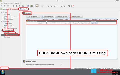 ภาพหน้าจอ JDownloader สำหรับ Windows 8