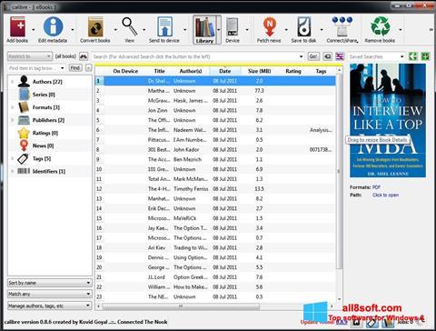 ภาพหน้าจอ Calibre สำหรับ Windows 8
