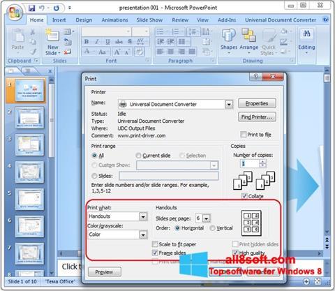 ภาพหน้าจอ Microsoft PowerPoint สำหรับ Windows 8