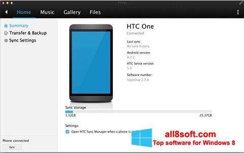 ภาพหน้าจอ HTC Sync สำหรับ Windows 8