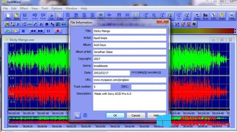ภาพหน้าจอ GoldWave สำหรับ Windows 8