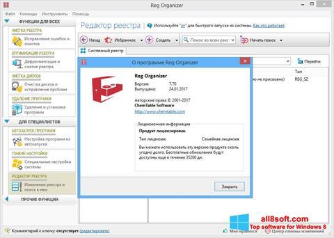 ภาพหน้าจอ Reg Organizer สำหรับ Windows 8
