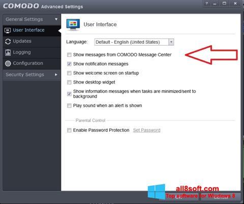 ภาพหน้าจอ Comodo สำหรับ Windows 8