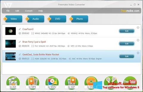 ภาพหน้าจอ Freemake Video Converter สำหรับ Windows 8