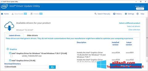 ภาพหน้าจอ Intel Driver Update Utility สำหรับ Windows 8
