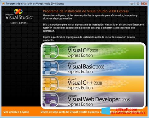 ภาพหน้าจอ Microsoft Visual Studio สำหรับ Windows 8